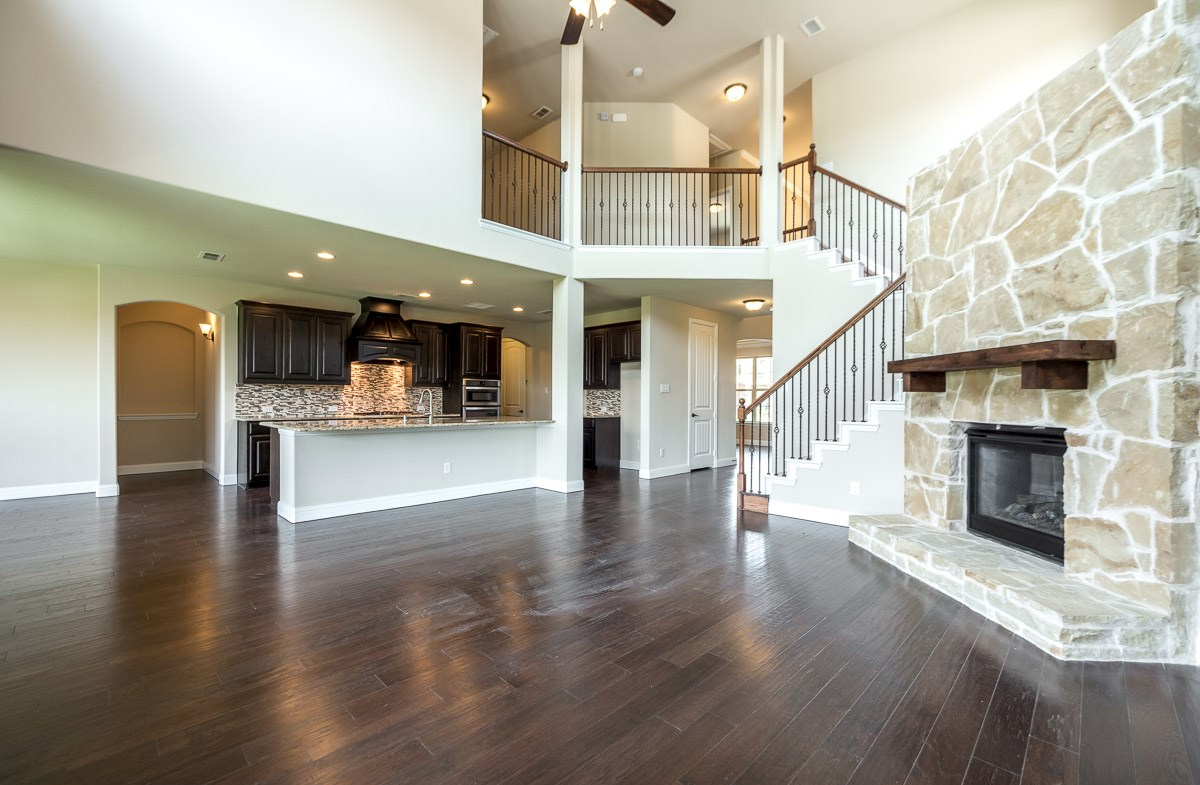 Gruene quick move-in stone fireplace in great room