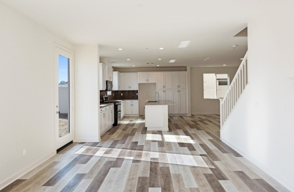 Peony quick move-in kitchen overlooking living room