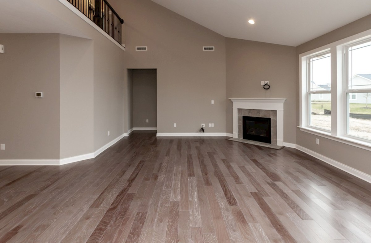 Bradbury quick move-in great room with fireplace and hardwood floors