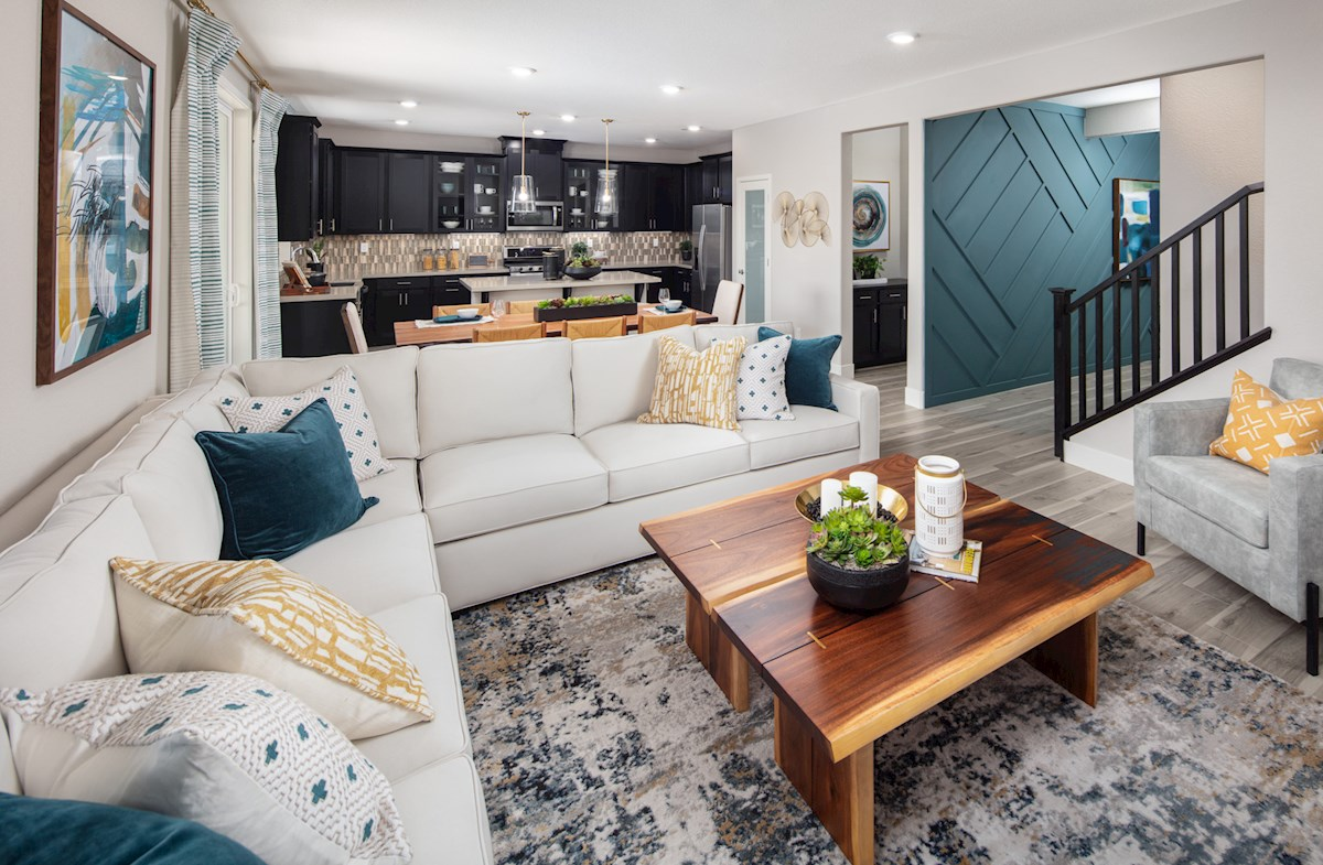 great room with white sectional couch
