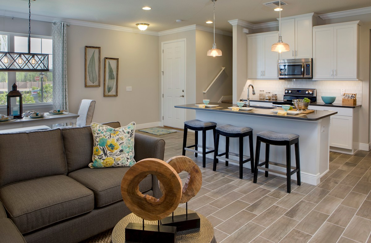 Long Lake Ranch Townhomes Erie Open Kitchen and Great Room with center island