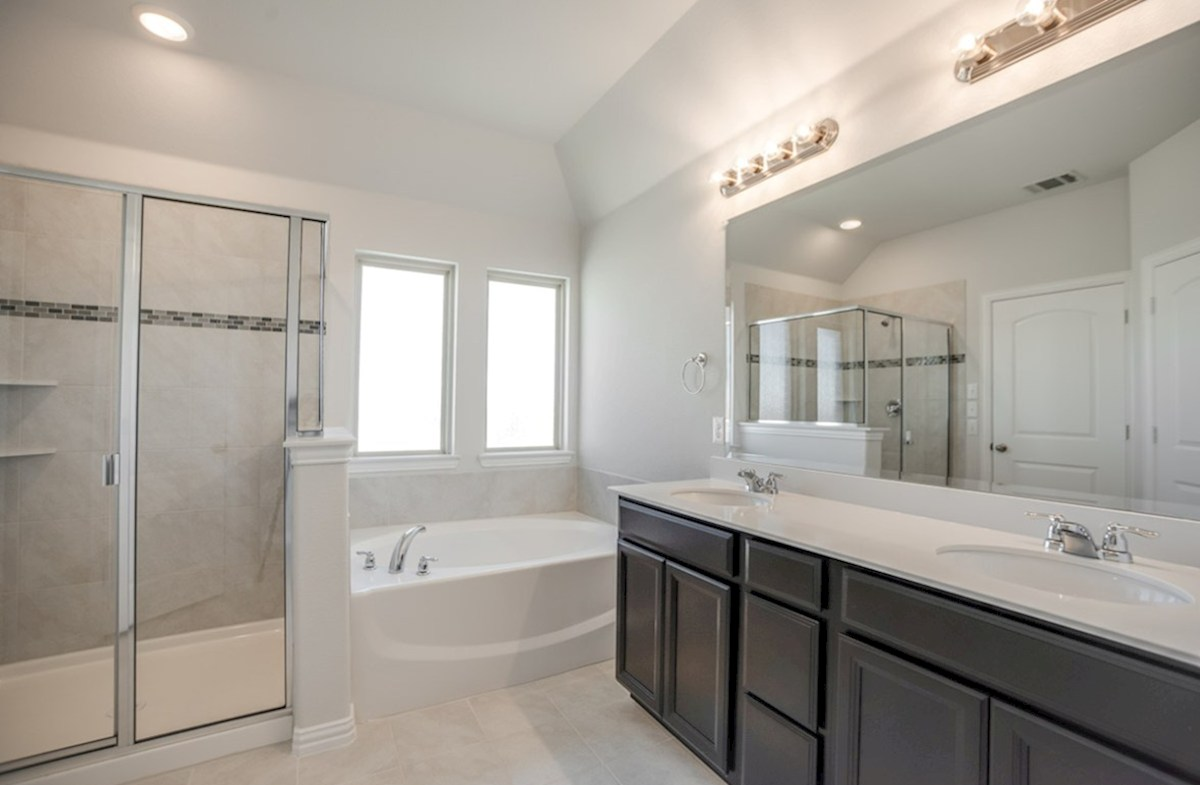 Whitney quick move-in master bath with tub and walk-in shower
