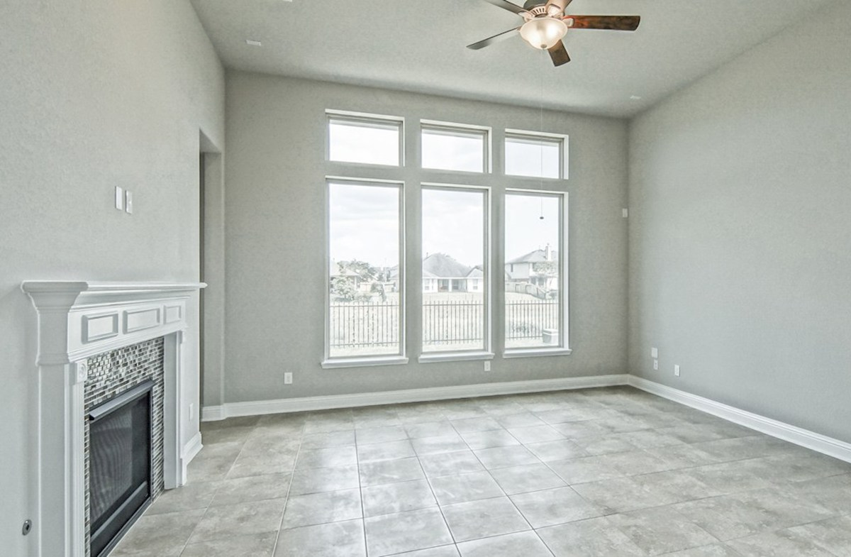 Capri quick move-in great room with cozy fireplace