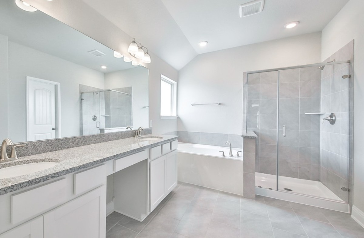 Juniper quick move-in master bathroom with separate tub and shower