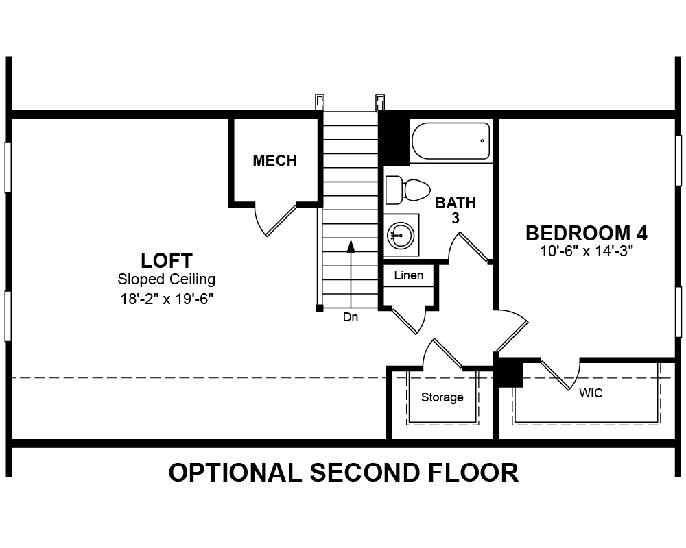 Main floor plan for Optional Second Floor