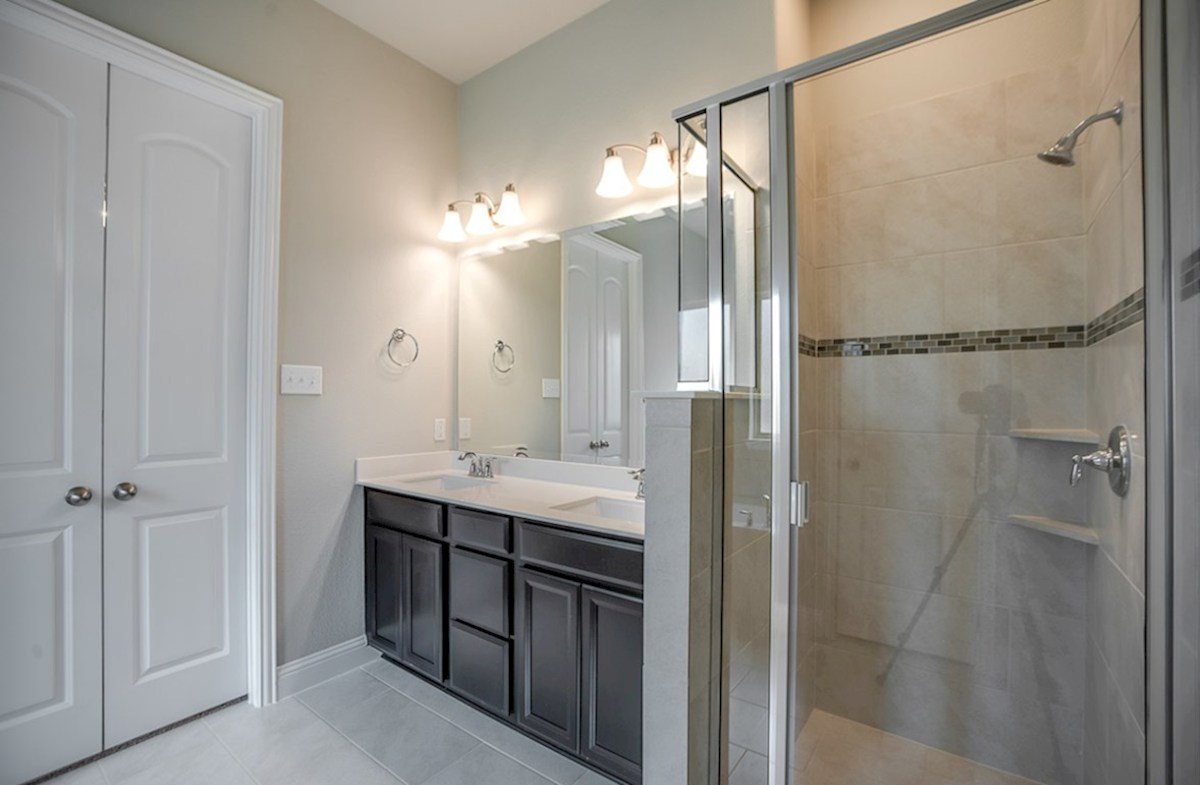 Glen View Ainsley Ainsley master bathroom with double vanities