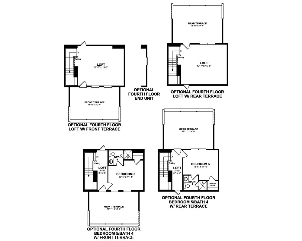 Main floor plan for Optional 4th Floor