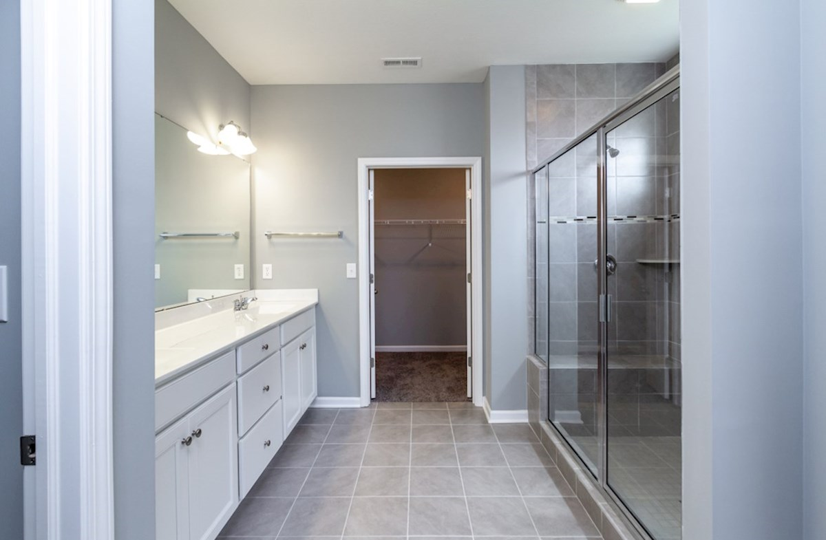 Greenwich quick move-in master bath with spa shower