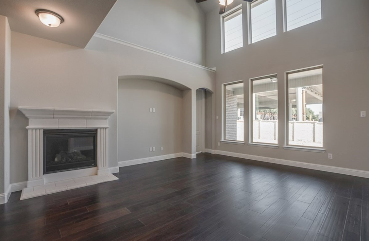 Aberdeen quick move-in great room with fireplace and large windows
