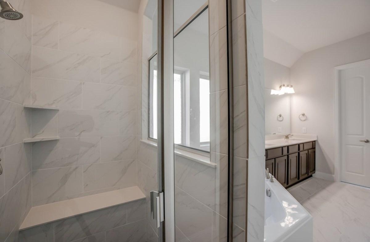 Miramonte Bandera Bandera master bathroom with double vanities