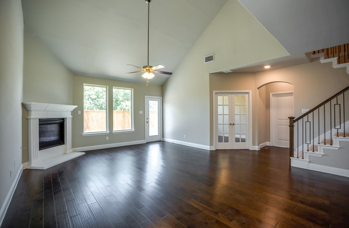 Prescott quick move-in great room with wood flooring