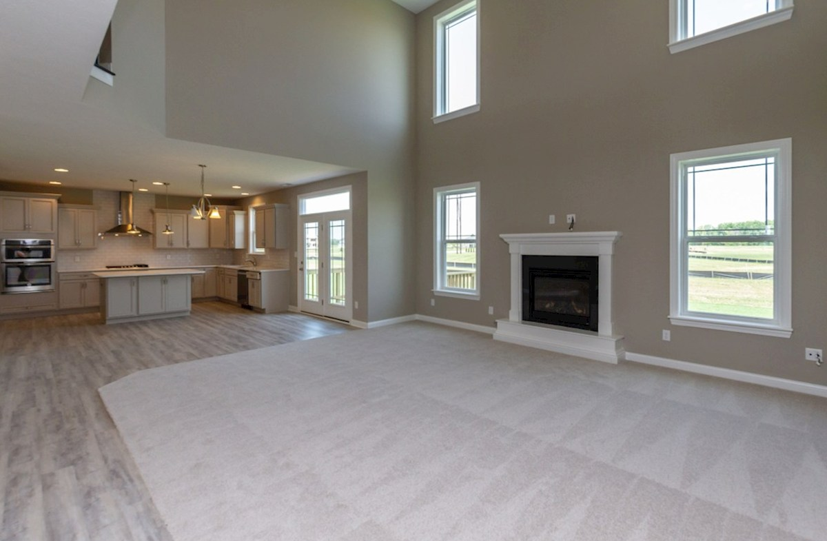 Tarkington quick move-in Great room has gas fireplace