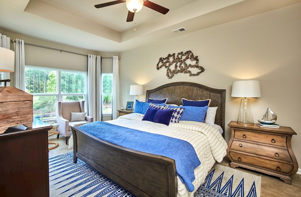 Spring Mill Plantation Camden master bedroom features bay windows