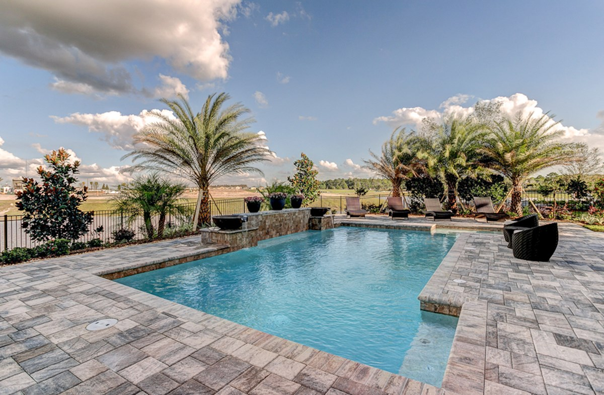 Private pool with pavers