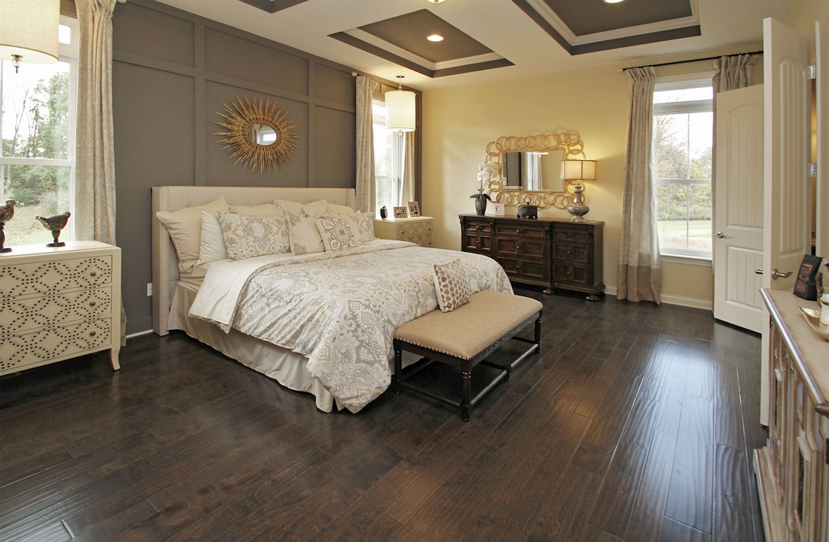 Hampshire Meridian Collection Capitol Capital master bedroom with trey ceiling and hardwood floors