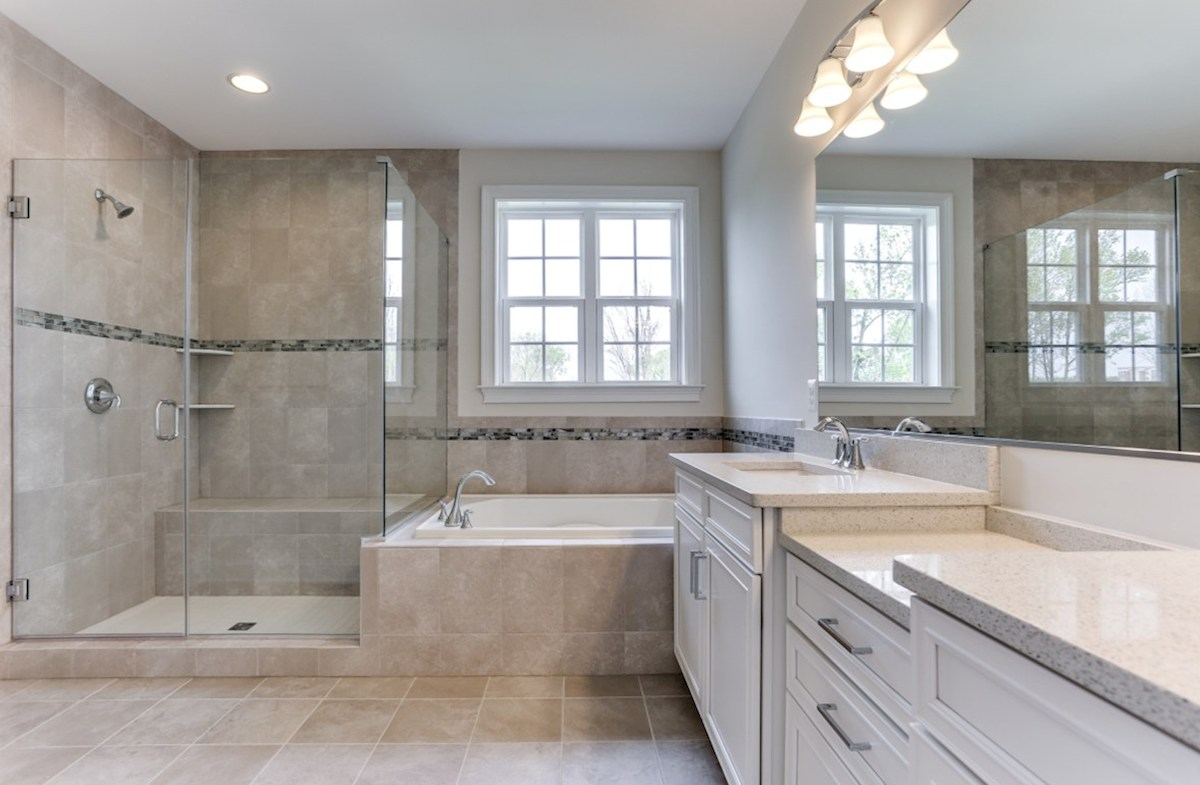 Brookview quick move-in Brookview master bath with separate shower and tub