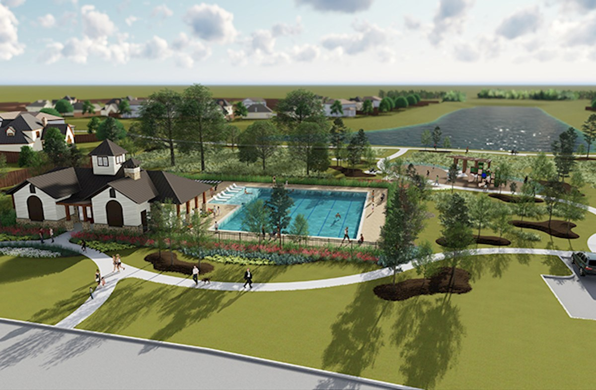 Upcoming amenity center has a sparkling pool