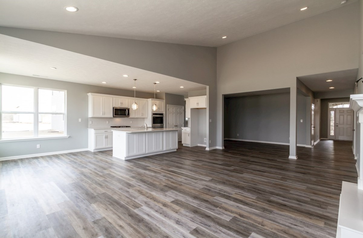 Greenwich quick move-in great room with vaulted ceilings