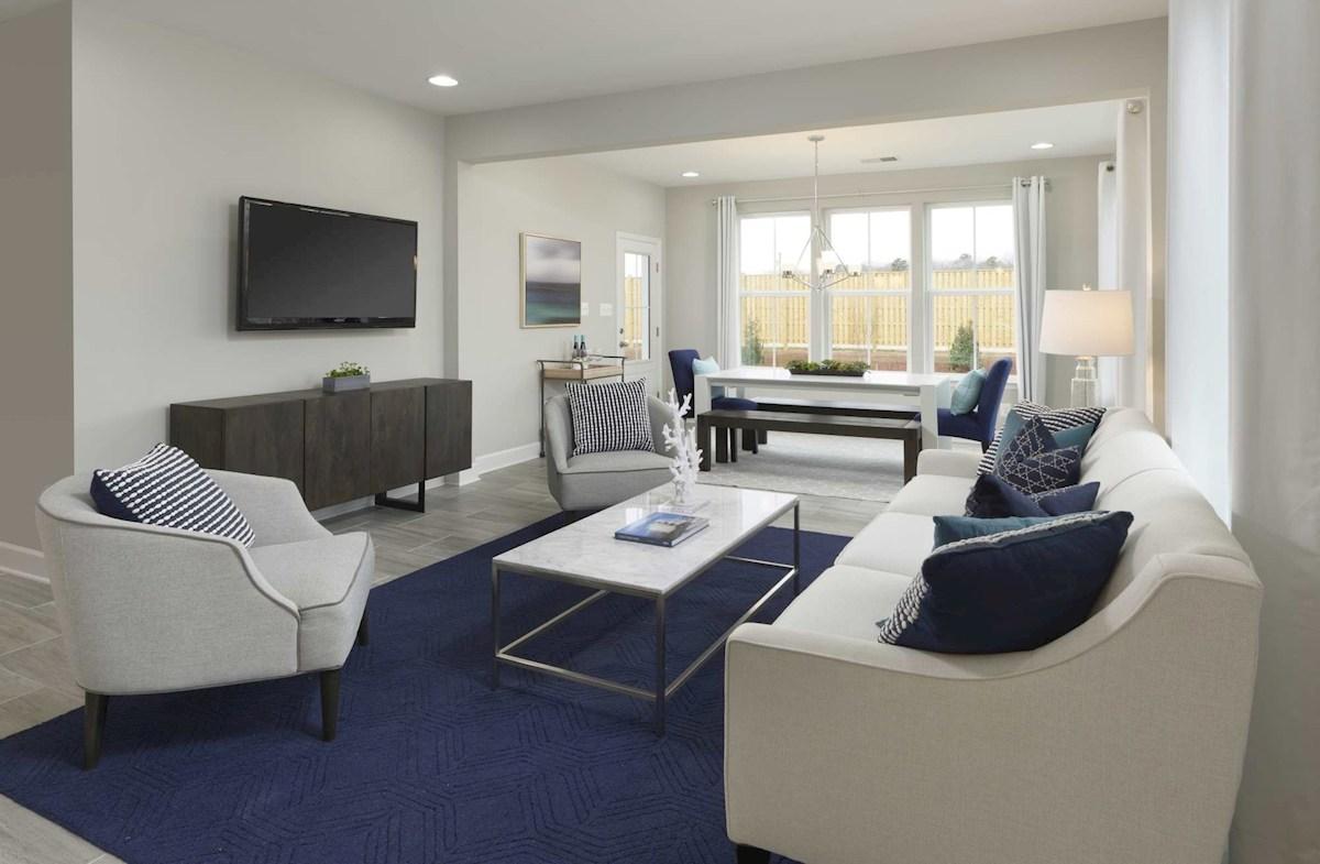 Bethany great room featuring hardwood floors