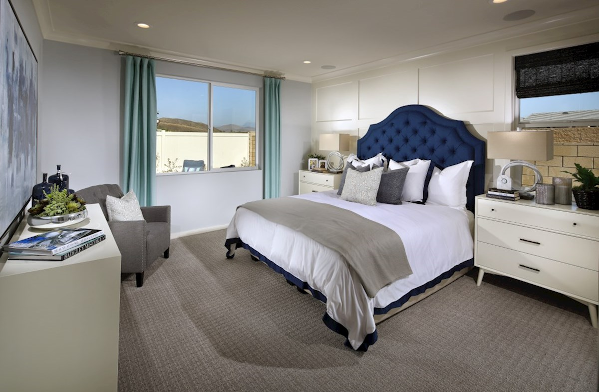 Provence at Heritage Ranch Napa Master bedroom located in the back of home for best exterior views and natural light.