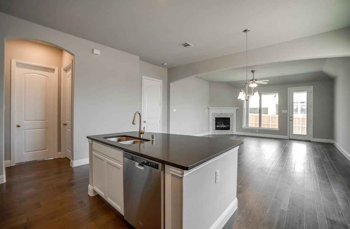 Ainsley quick move-in kitchen island overlooks breakfast area