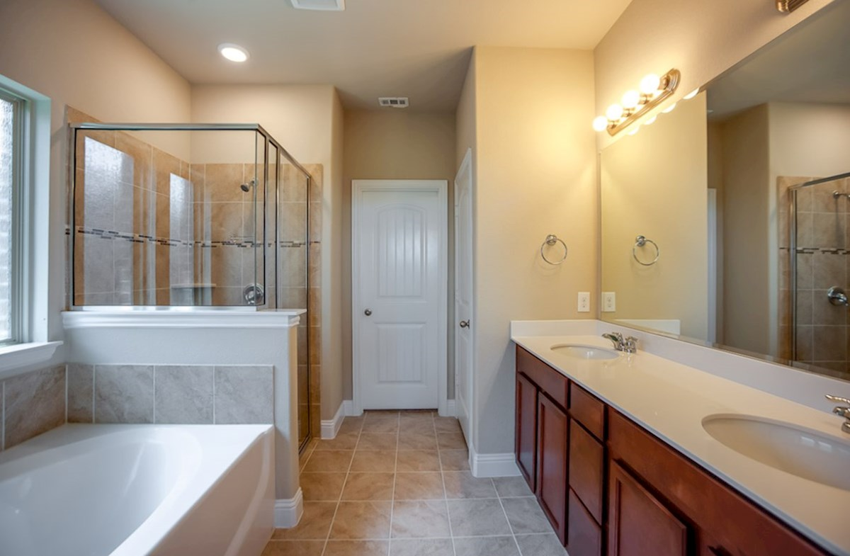 Avalon quick move-in master bath with separate tub and shower