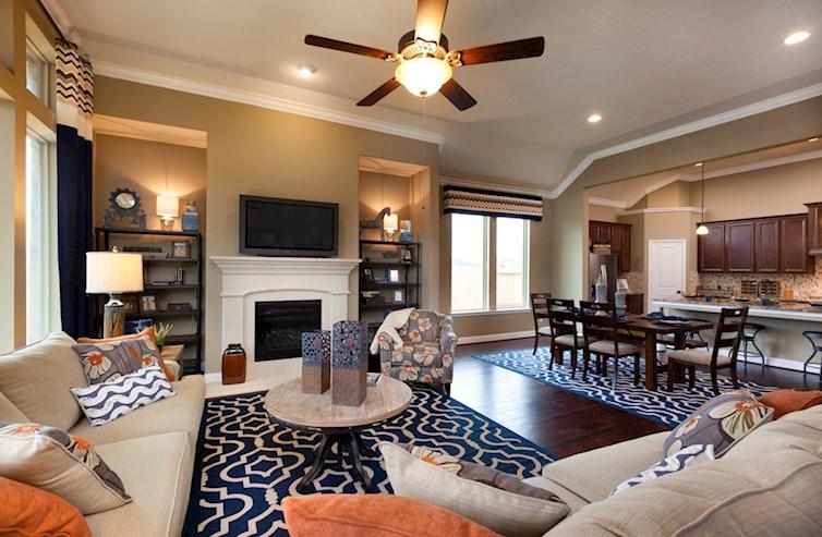 Cameron great room featuring hardwood floors