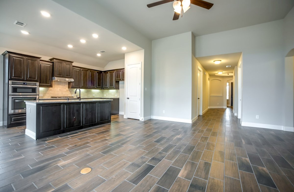 Blakely quick move-in great room opens to kitchen