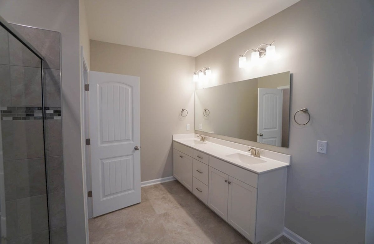 Savannah quick move-in master bathroom with double vanities