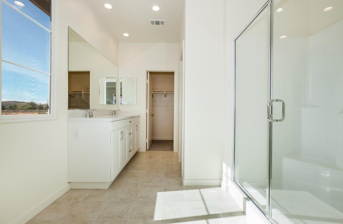 Primrose quick move-in dual vanities in master bathroom