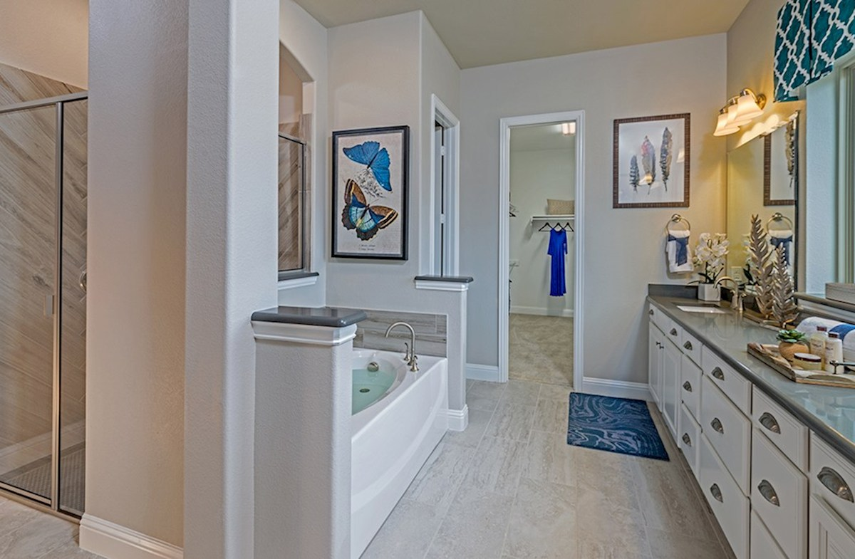 Glen View Brighton master bathroom includes separate tub and shower