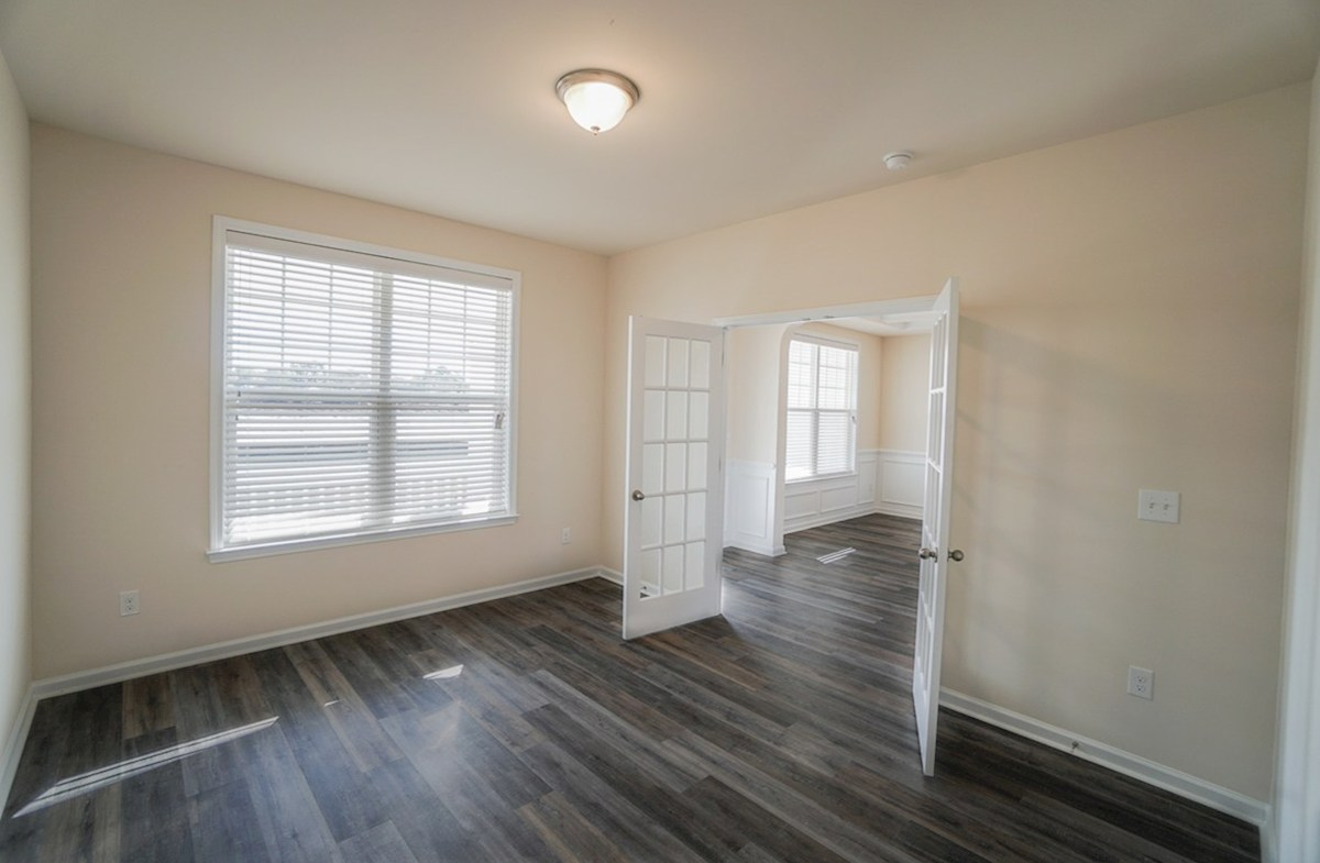 Ivey quick move-in study features French doors and luxury plank flooring
