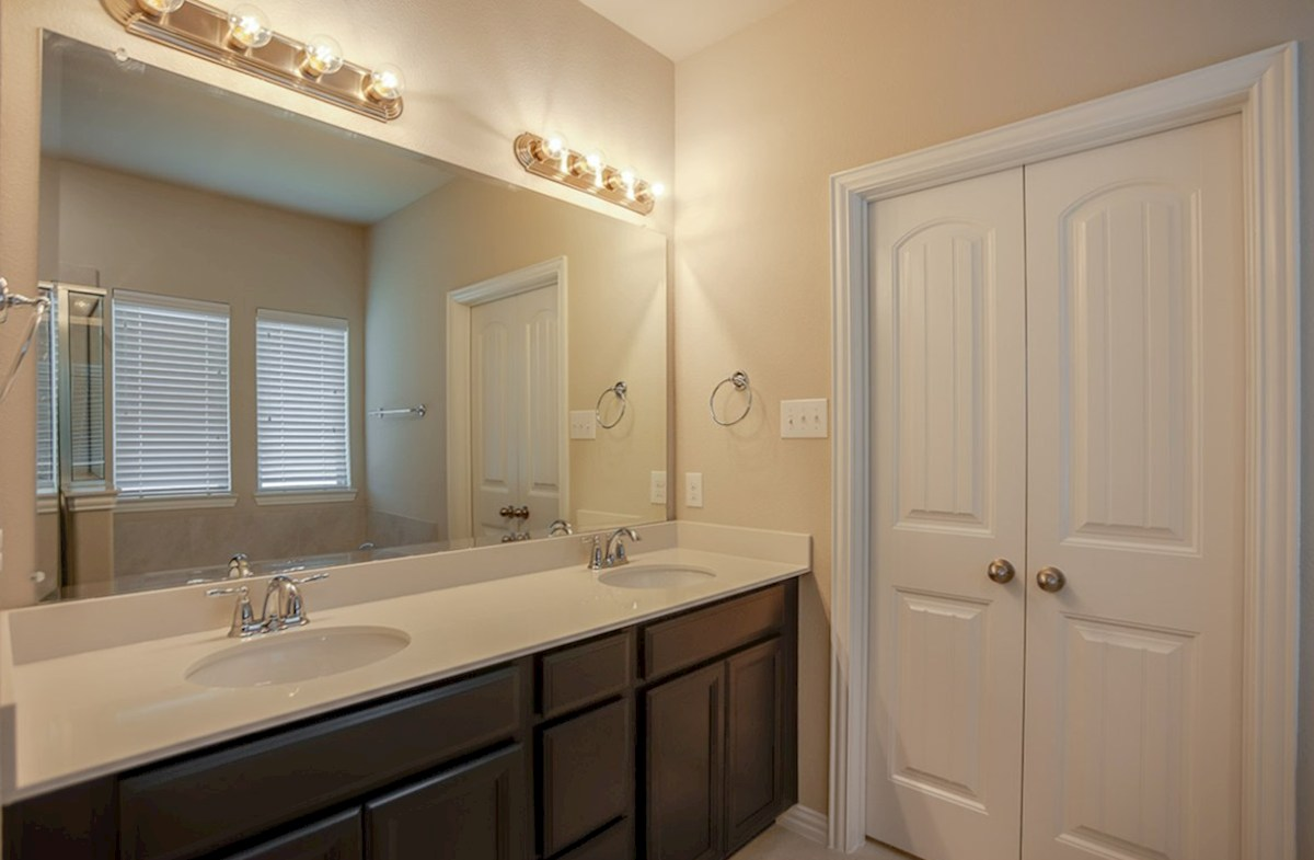 Avalon quick move-in master bath includes dual vanities