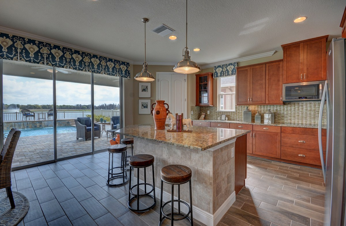 Long Lake Ranch Anna Maria Kitchen with center island and seating