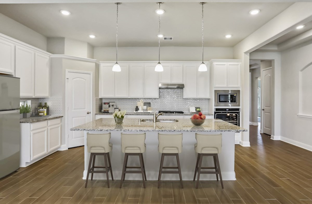 Cameron quick move-in kitchen with granite countertops and pendant lighting