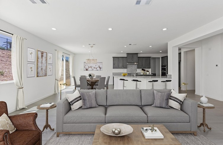 staged rendering of the Great Room and Kitchen