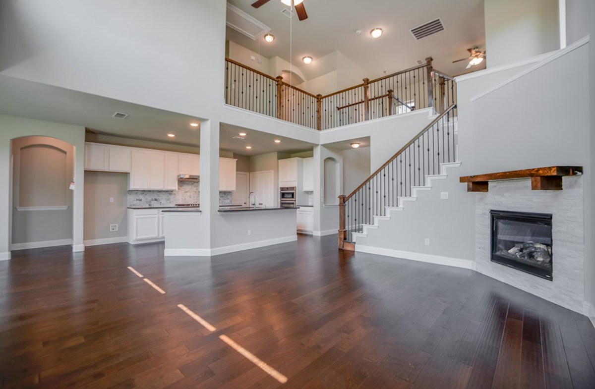 Brookhaven quick move-in great room features wood flooring
