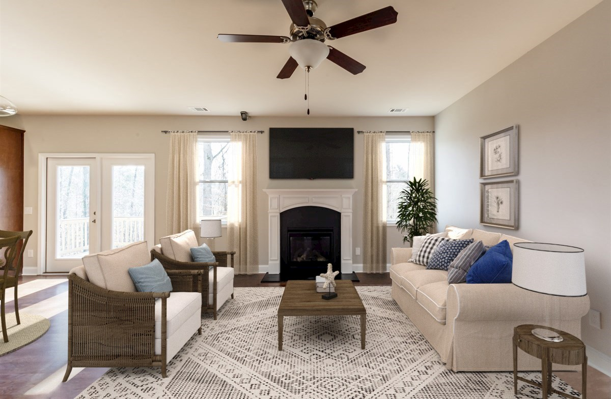 Bradshaw quick move-in Family Room with fireplace