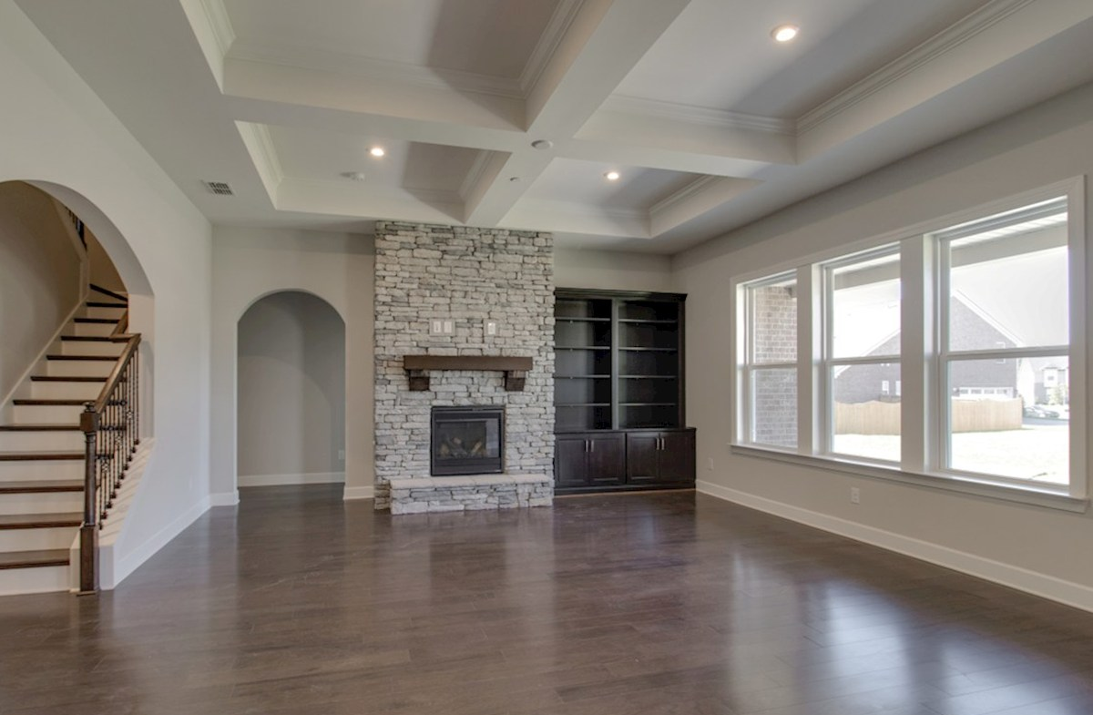 Mckinley quick move-in great room with coffered ceiling and hardwood floors