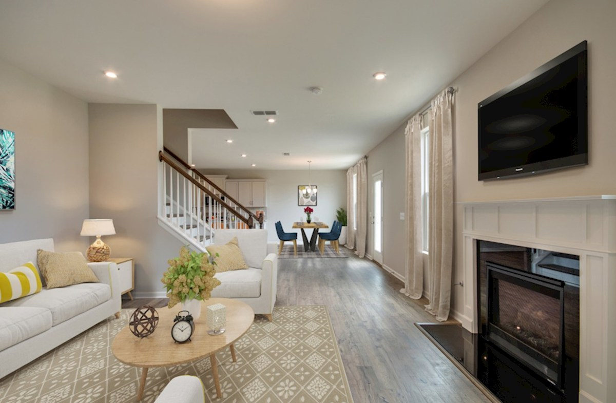 Ashford quick move-in great room with white fireplace