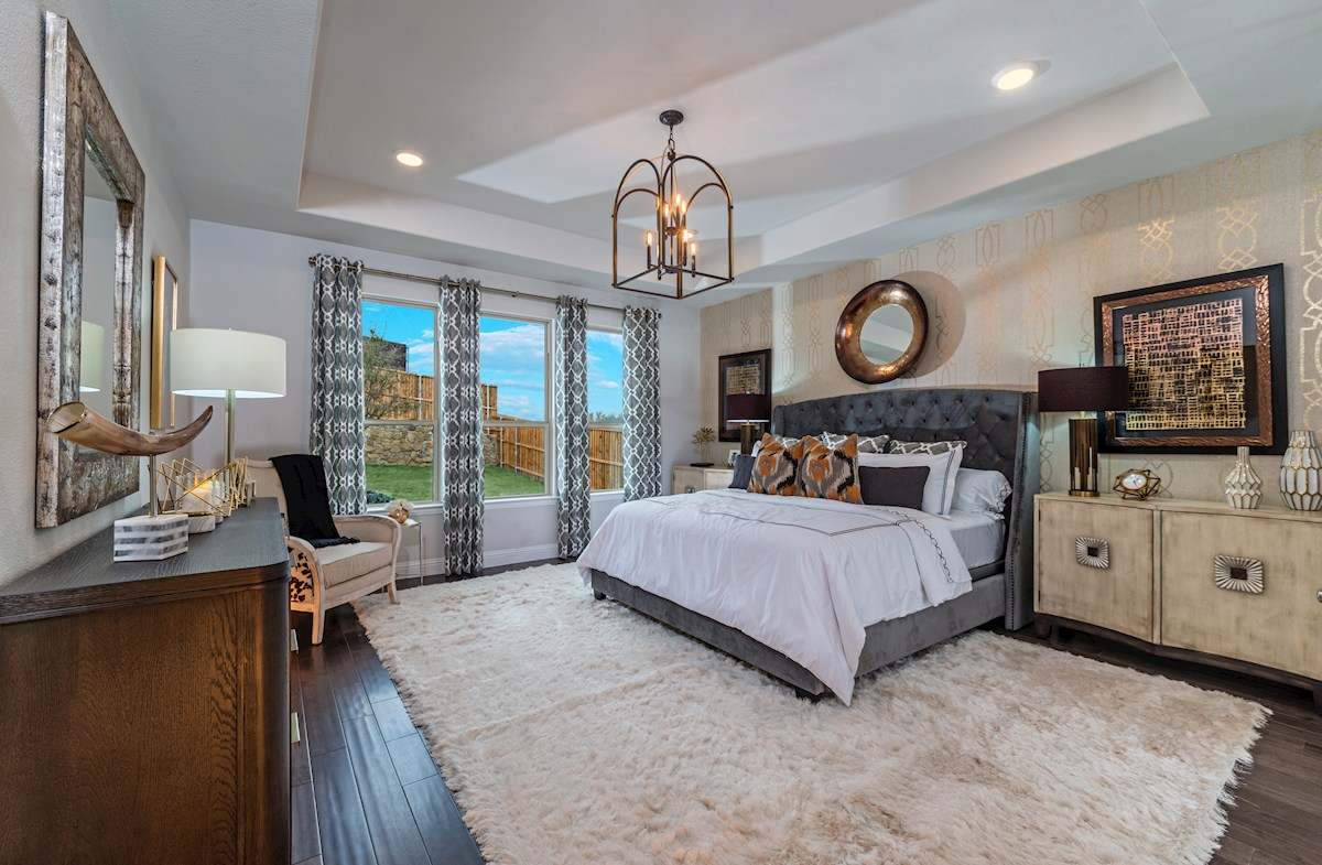 Wildwood at Oakcrest Lockhart master bedroom with tray ceilings