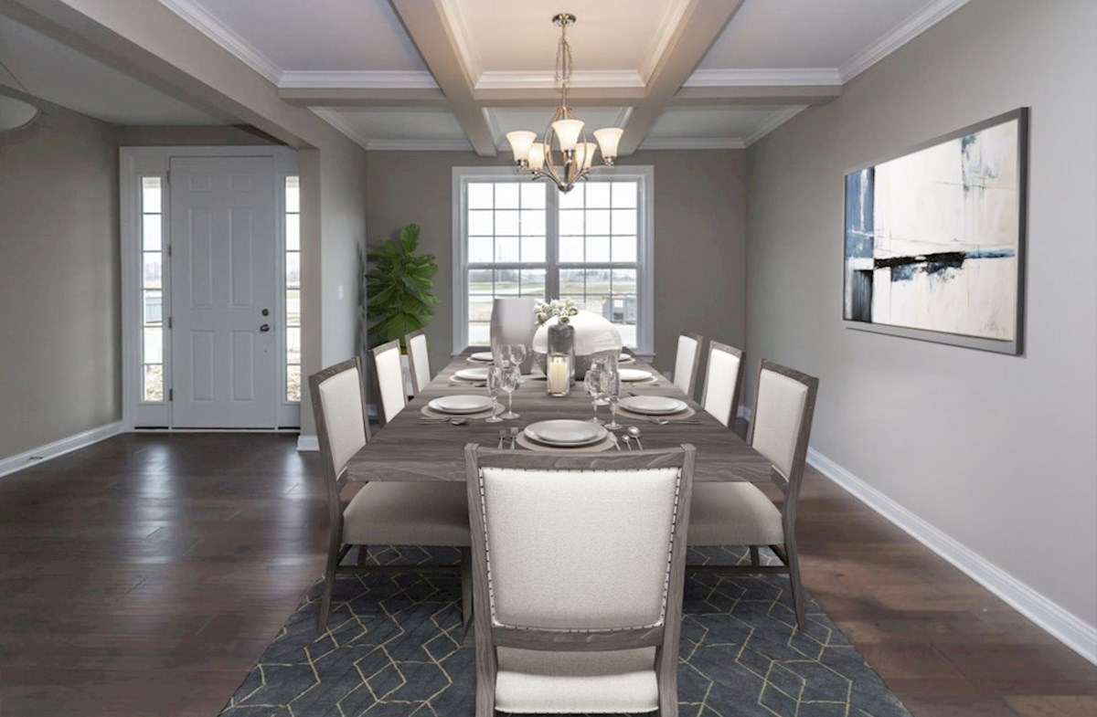 Hampshire Meridian Collection Oakhill formal dining room with coffered ceiling