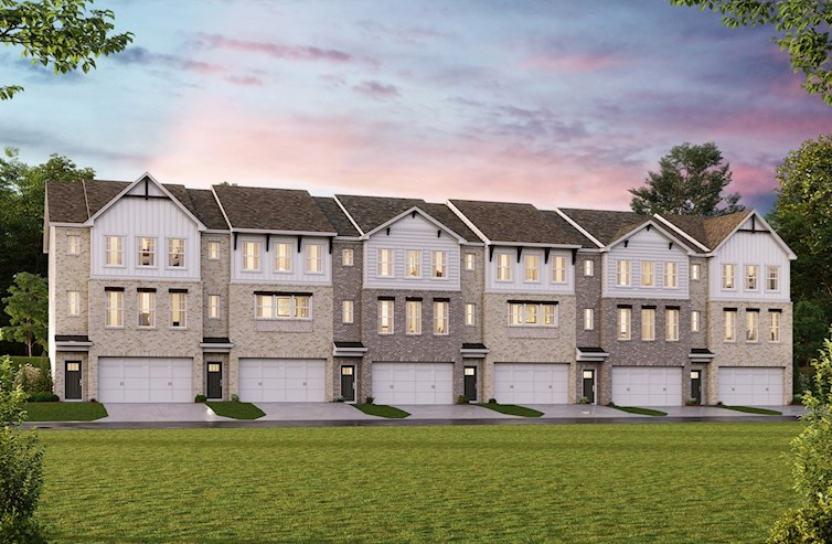 Three-story townhomes with front-loading garages