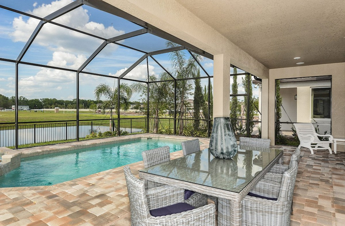 Reserve at Citrus Park Lucia Bay Pool and spa with screen and extended lanai