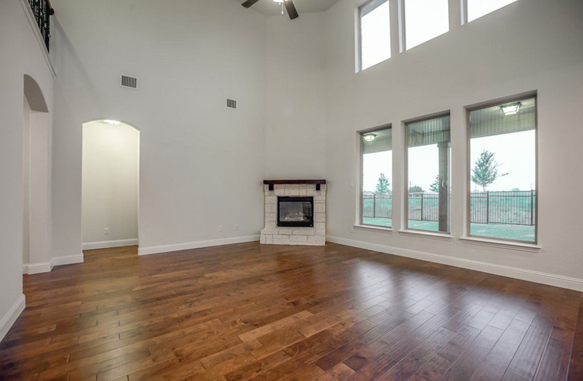 Trinity quick move-in open great room with stone fireplace