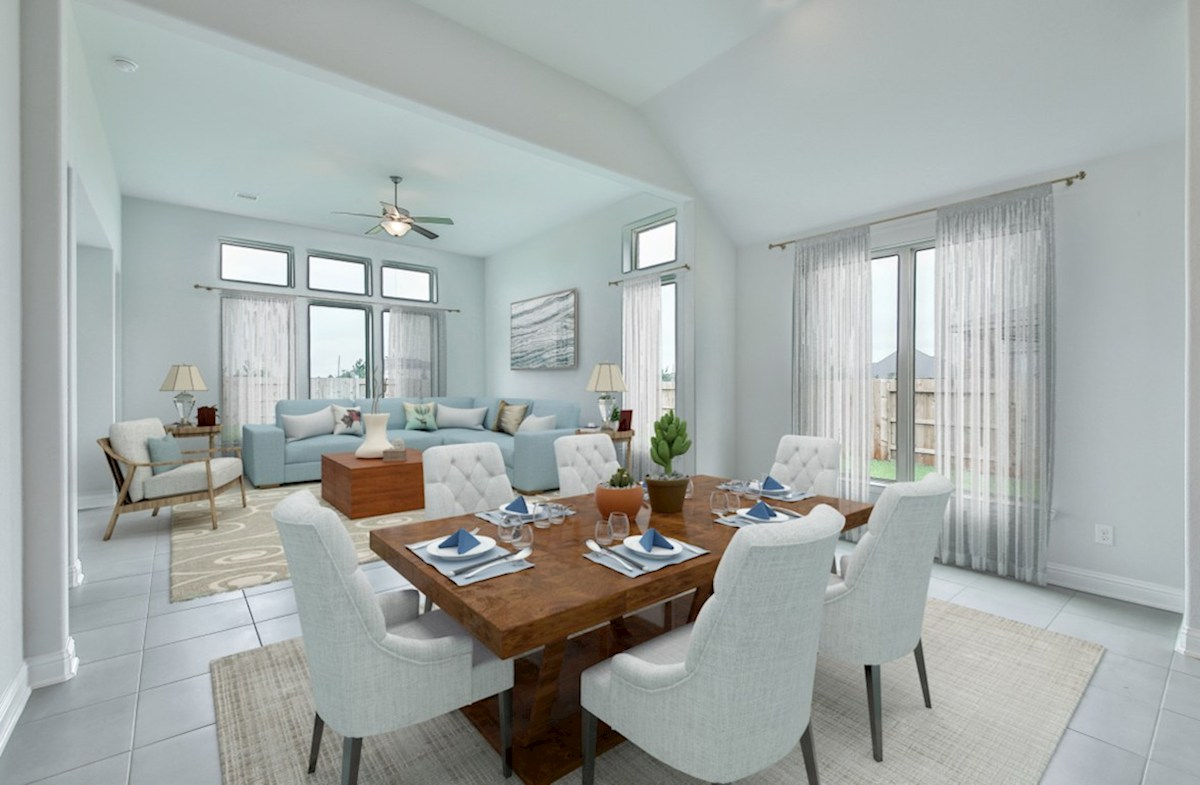 Capri quick move-in open-concept casual dining room and great room with tile flooring