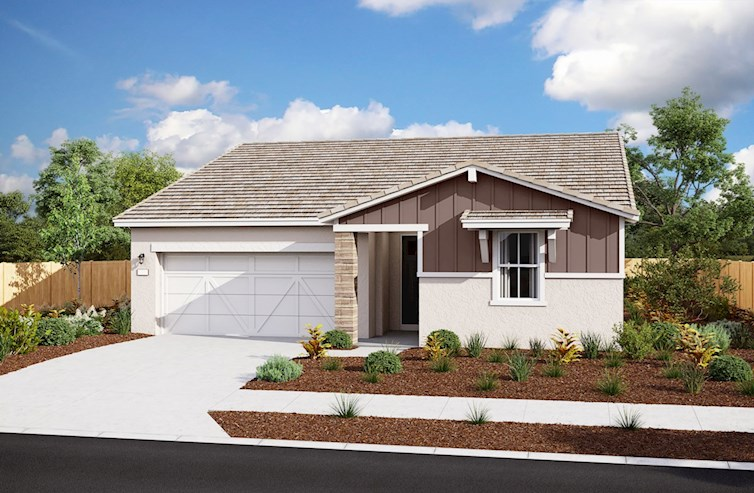 rendering of single-story home with 2-car garage
