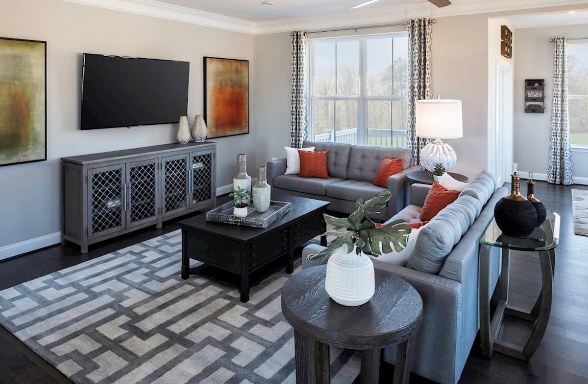 Ellicott great room featuring hardwood floors