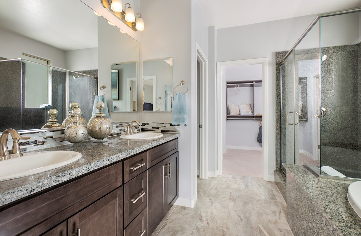 Park Collection at Inspirada Biscayne Master Bath with granite surround shower & tub