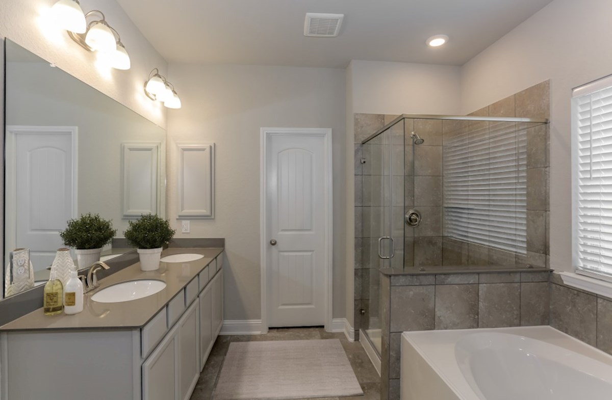 Lantana Berkshire master bath with separate garden tub and shower